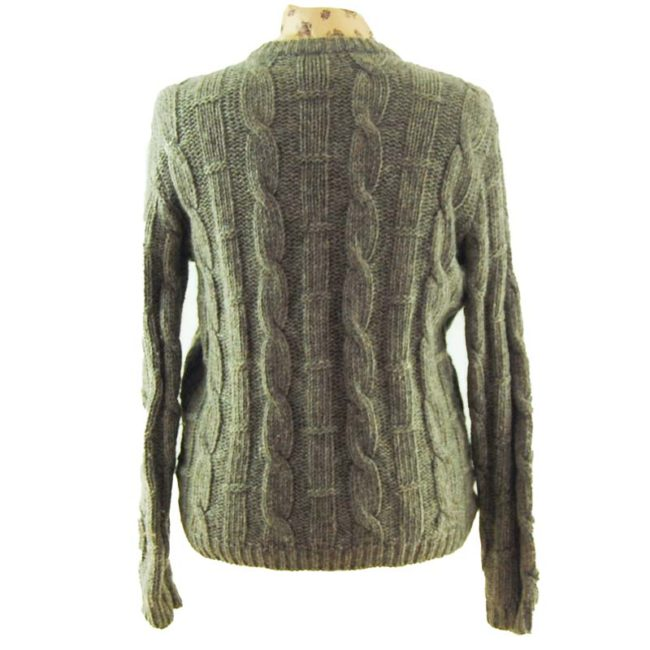 back of Grey Vintage Cable Knit Cardigan
