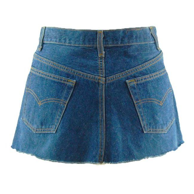 back of Levis 90s Dark Denim Blue Skirt