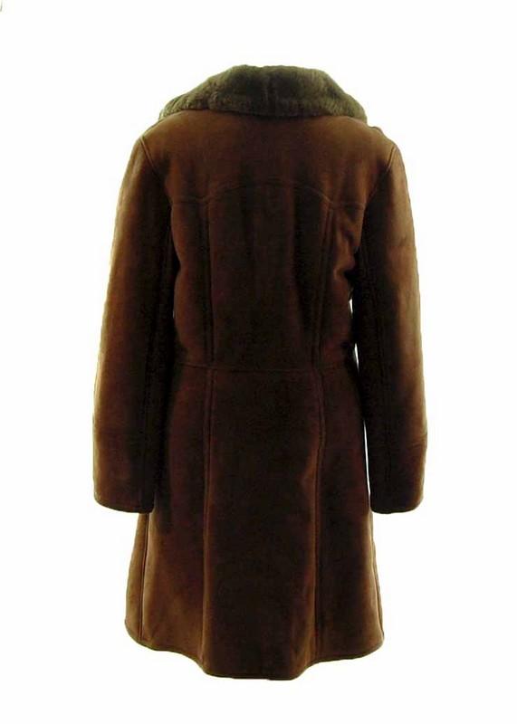 Back of Mens Dark Brown Sheepskin Coat