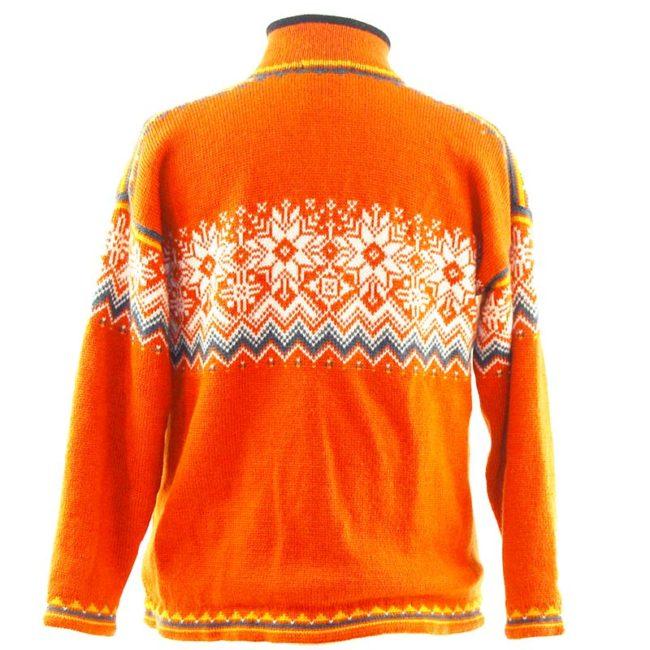 back of Orange Norwegian Sweater