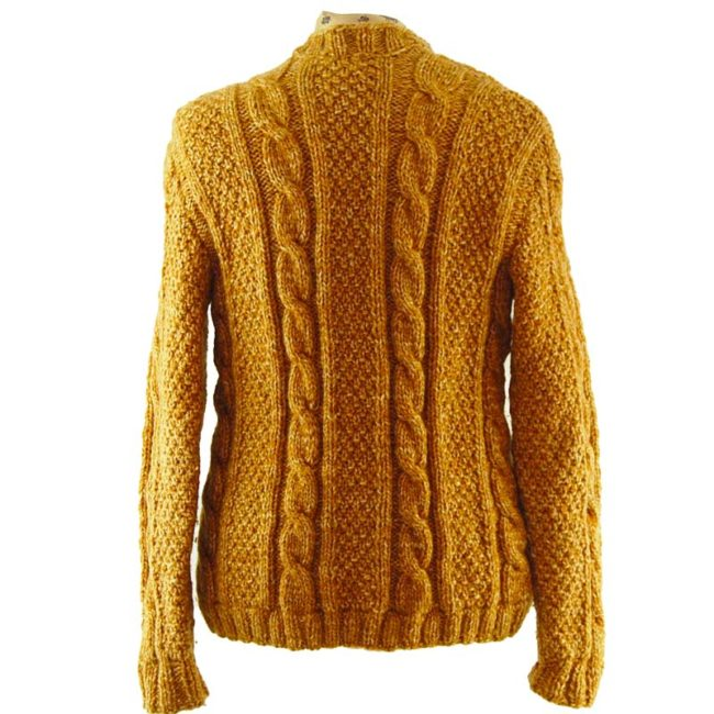 back of Yellow Vintage Cableknit Cardigan