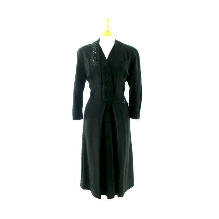 Vintage black 1940s dress