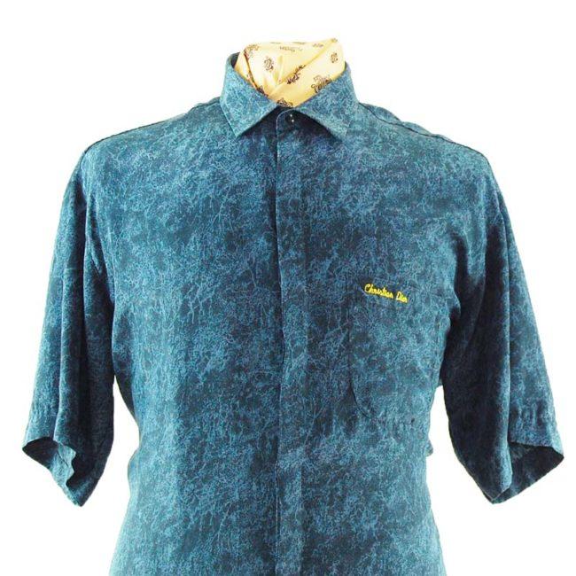 close up of 90s Christian Dior Silk Shirt