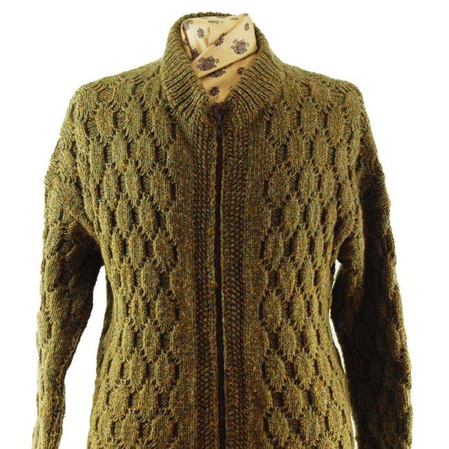 close up of 90s Vintage Brown Cardigan
