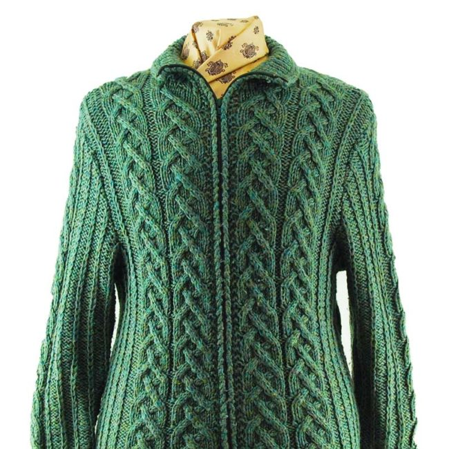 close up of Green Vintage Zip Up Cardigan