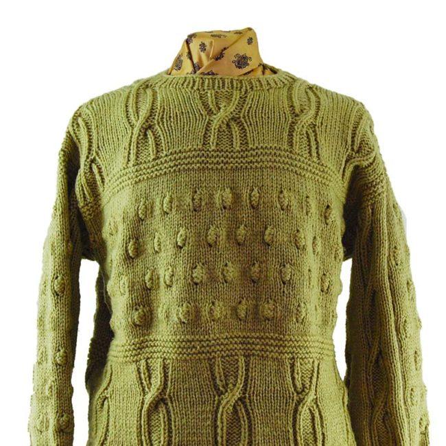 close up ofOversized Vintage Knit Dad Sweater