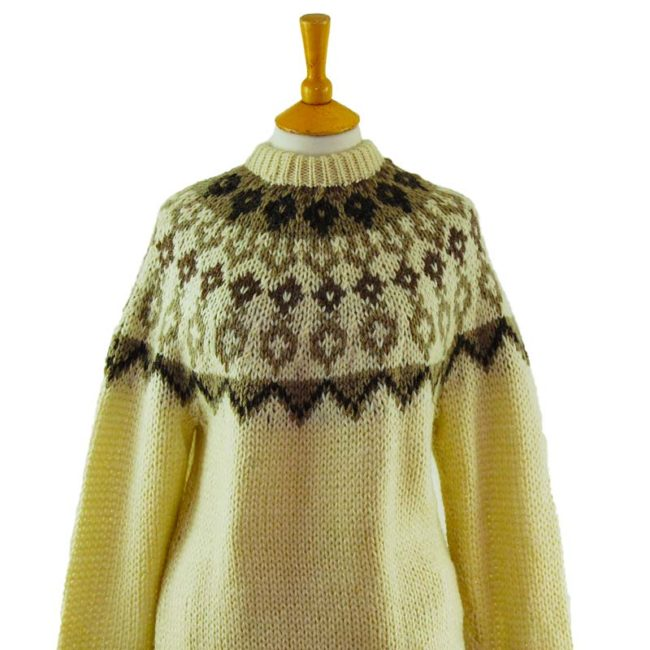 close up of Patterned Icelandic Wool Sweater