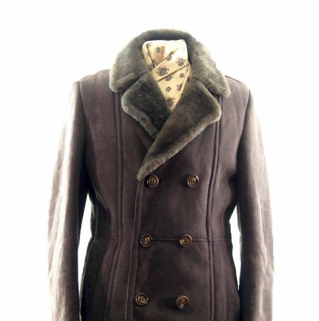close up of Mens Vintage Sheepskin Coat