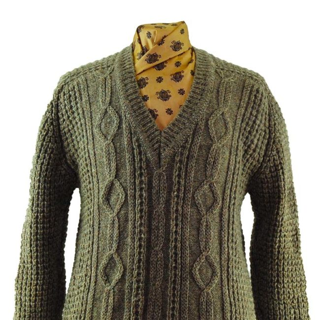 close up of V-Neckline Cable Knit Sweater