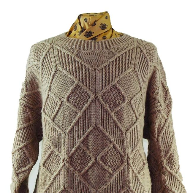 close up of Vintage Beige Large Knit Sweater