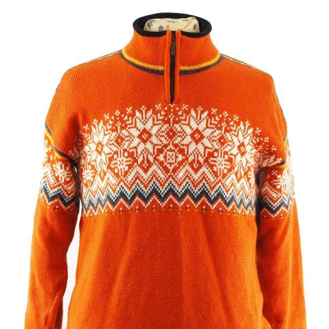 close up of back of Orange Norwegian Sweater