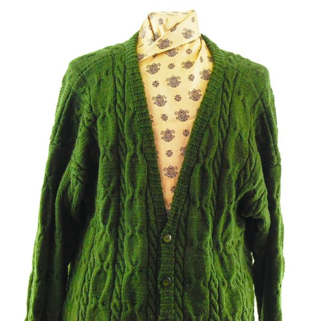 close up of Vintage V-Neckline Green Cardigan