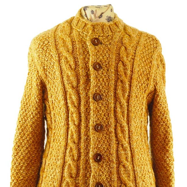 close up of front of Yellow Vintage Cableknit Cardigan