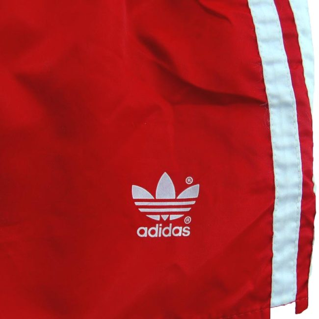 Front of Red Satin Adidas Shorts