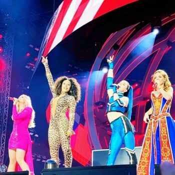 90s fashion pictures of the Spice Girls on tour