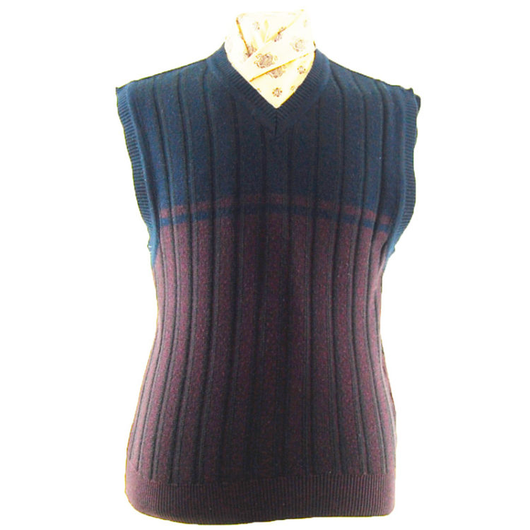 70s Black and purple V-neckline Vest