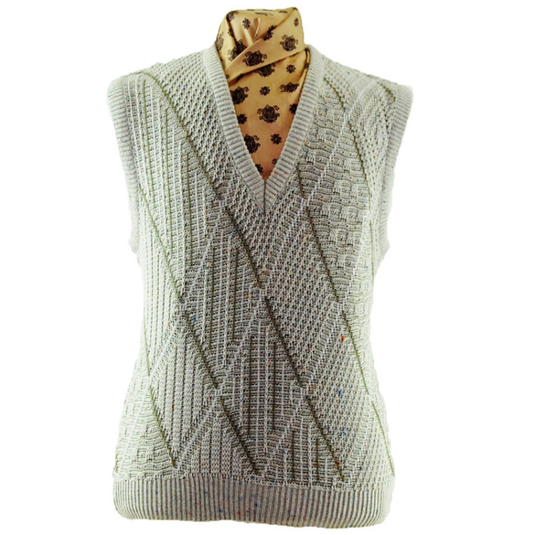 70s Crochet Argyll Patterned Vest