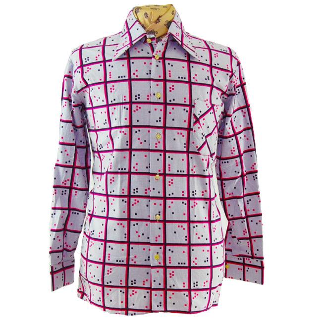 70s Digital Checker Print Shirt