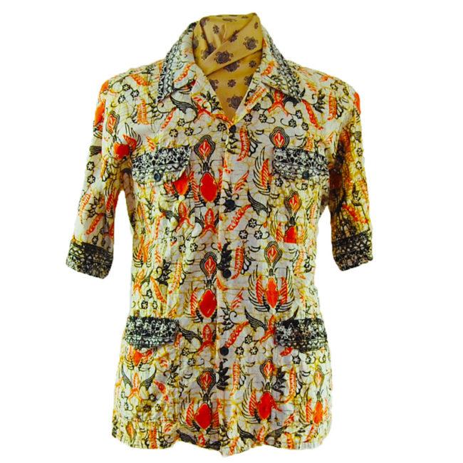 70s Egyptian Printed Short Sleeve Shirt