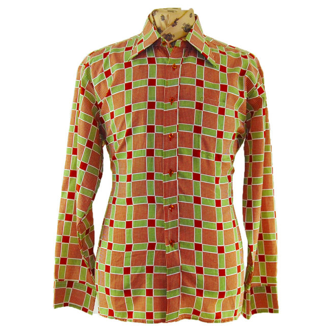 70s Green And Red Checked Shirt