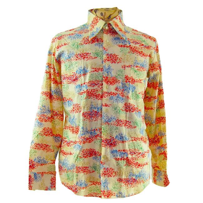 70s Mens Abstract Colour Slash Shirt