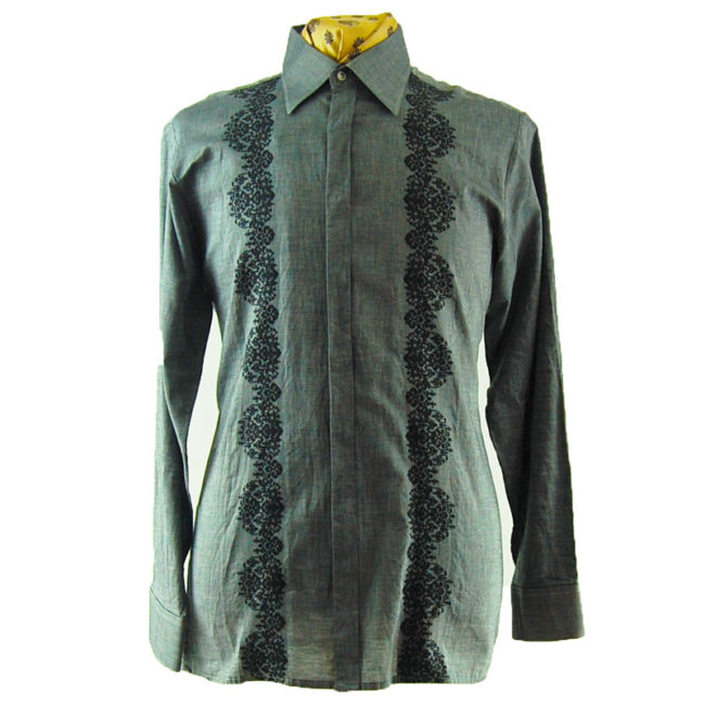 70s Mens Dark Grey Floral Shirt