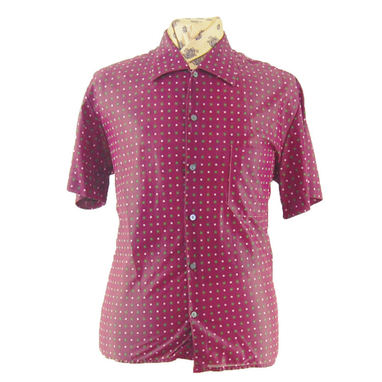 70s Purple Nylon Short Sleeve Shirt