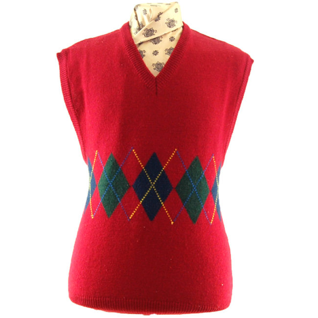 70s Red Argyll Pattern Vest