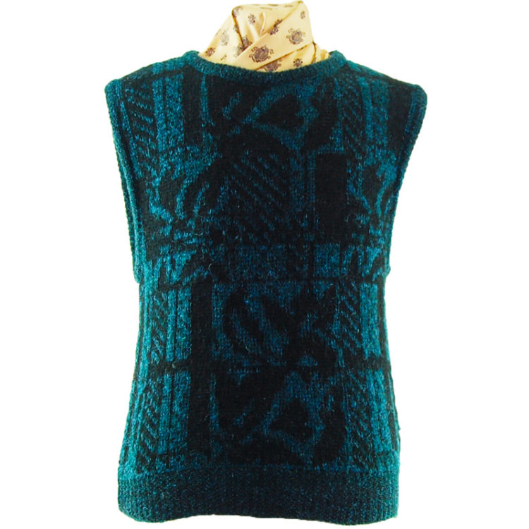 70s Turquoise And Black Glitter Vest