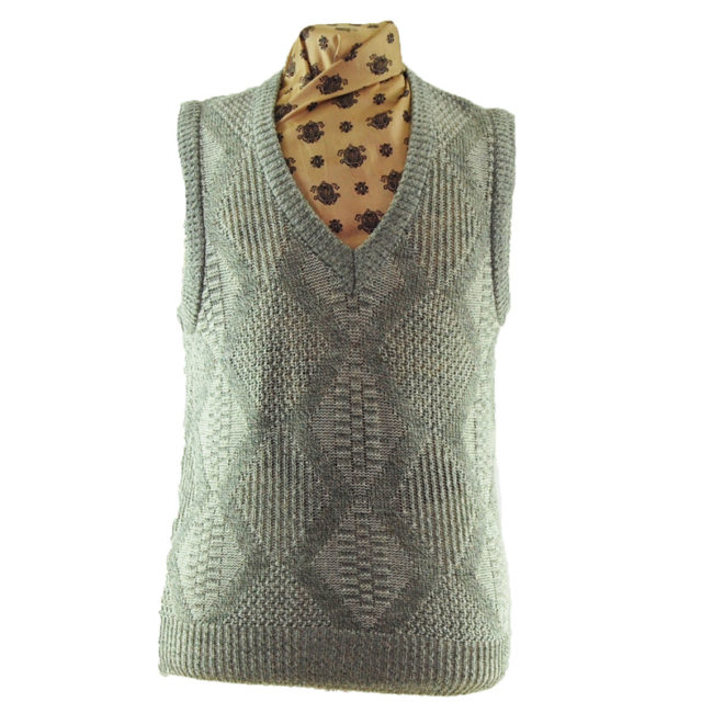 70s V-neckline Diamond Knit Vest