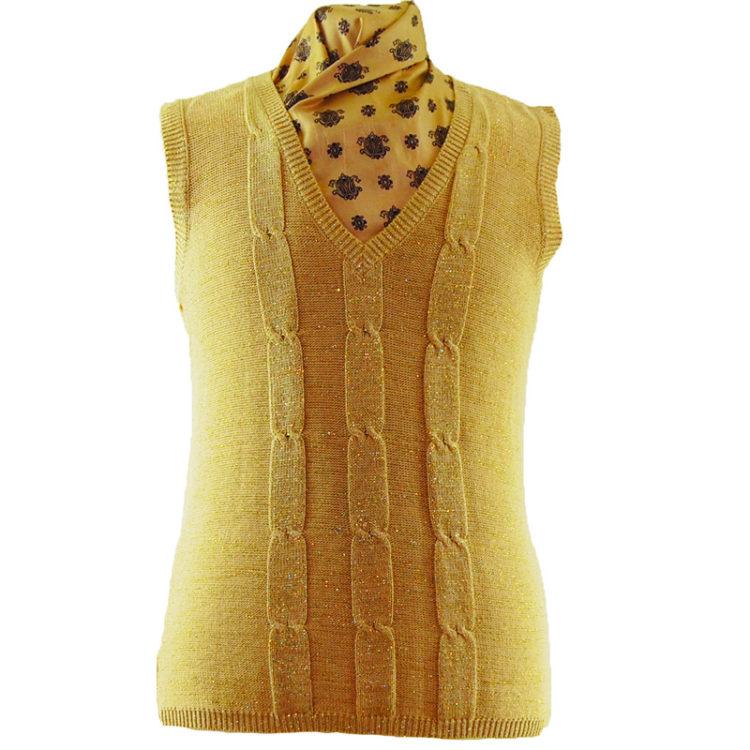 70s Vintage Beige Glitter Vest