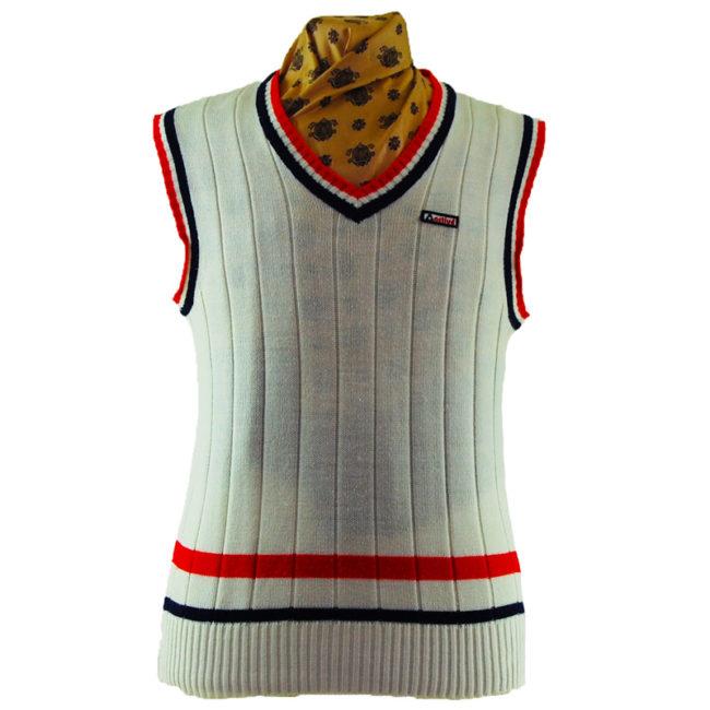 70s White Sports Vest