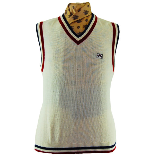 70s White Vintage Sports Vest