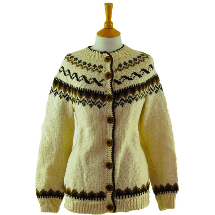 80s Brown And Cream Cardigan