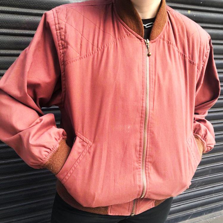 80s Maroon Synthetic Bomber Jacket