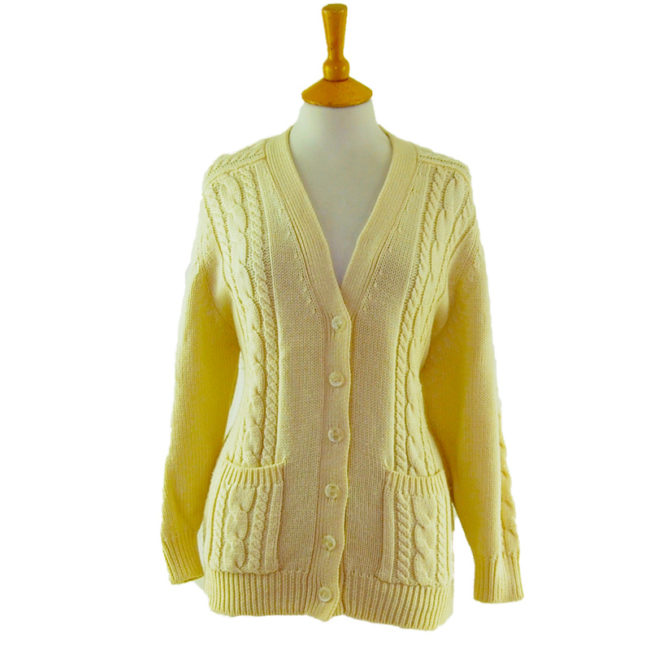 80s Cream Grandad Cardigan