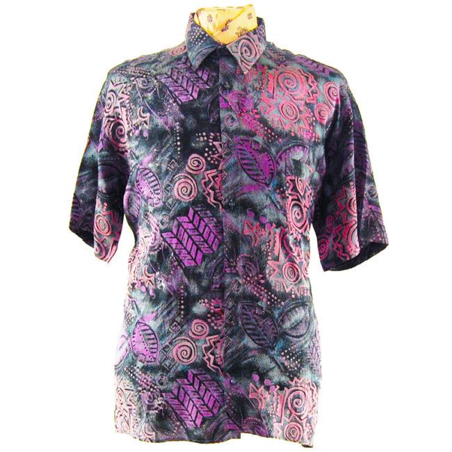 80s Dark Geometric Silk Shirt