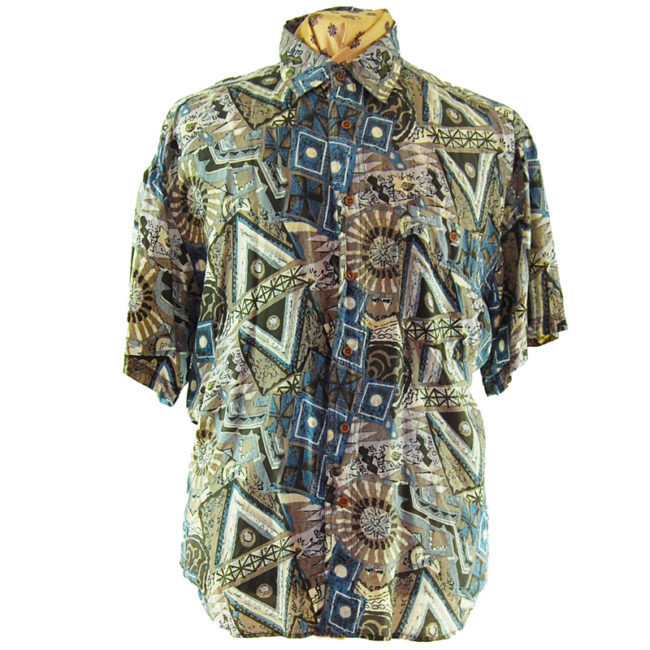 80s Grey Geometric Vintage Silk Shirt