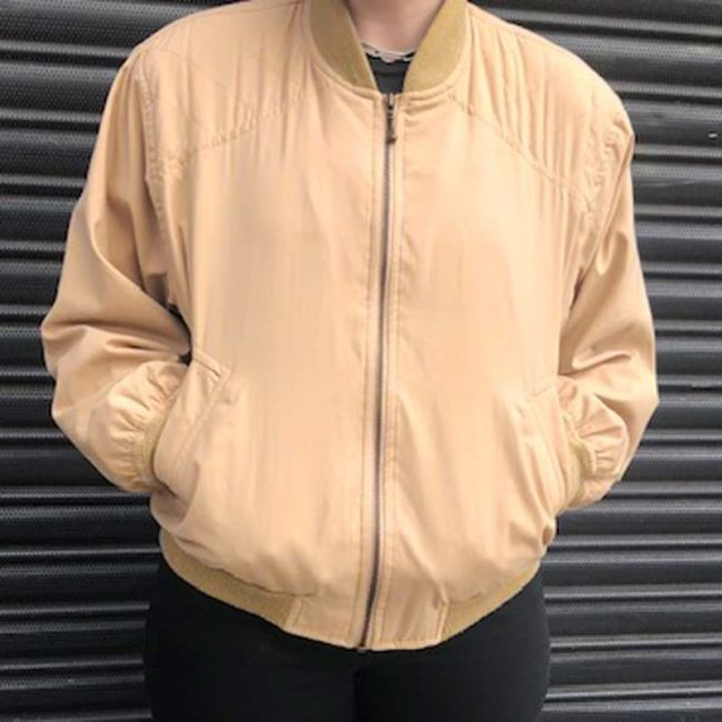 80s Light Beige Retro Bomber Jacket
