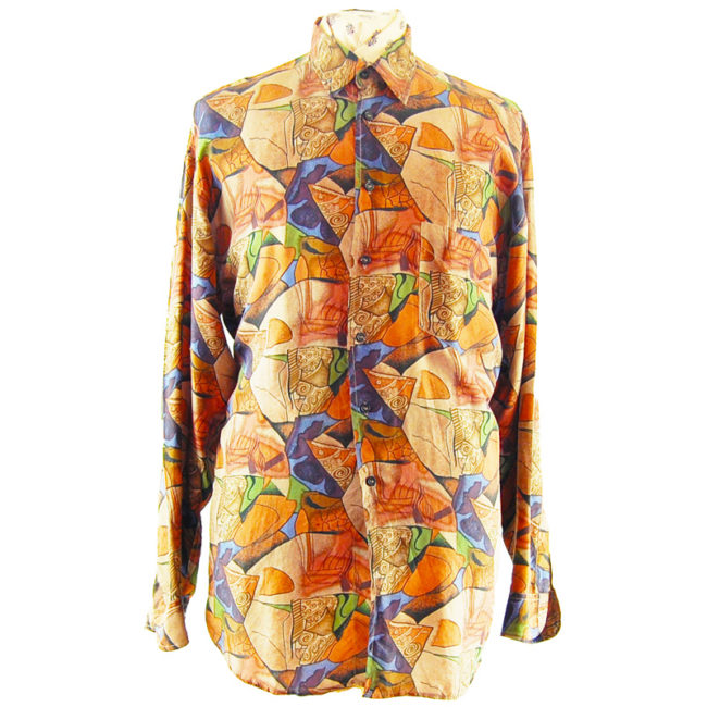 80s Mens Dark Grungy Silk Shirt