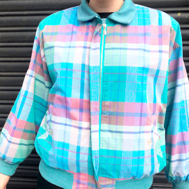 80s Multicolored Tartan Bomber Jacket