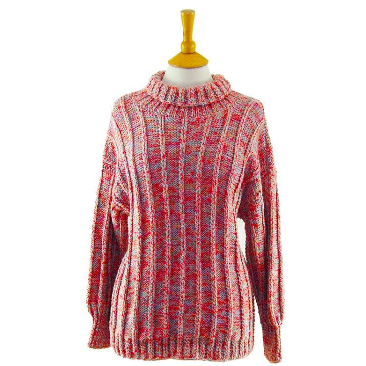 80s Multicolored Turtleneck Sweater