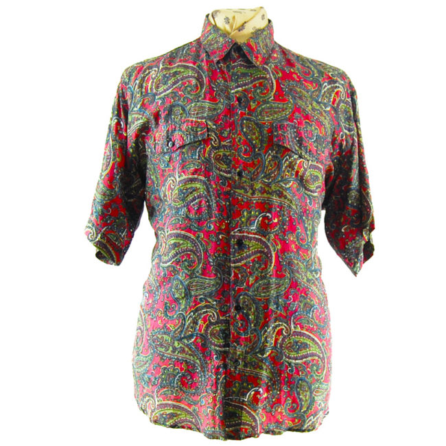 80s Red Paisley Vintage Silk Shirt