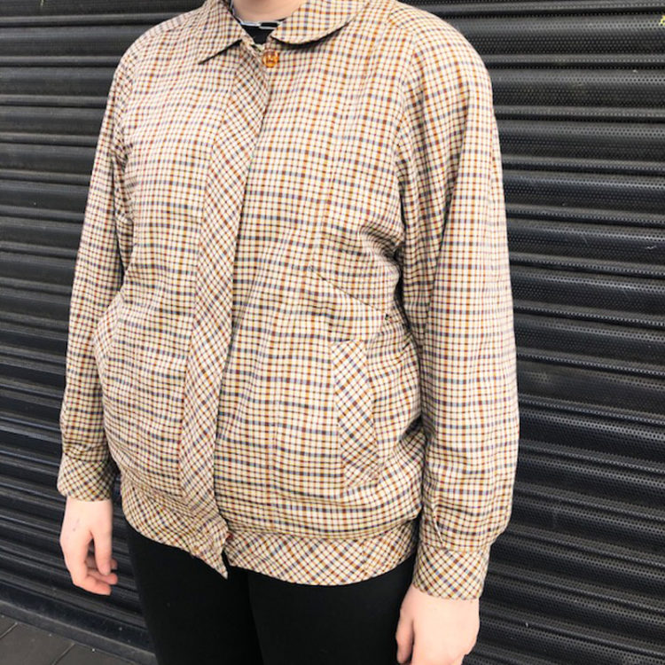80s Small Brown Check Bomber Jacket