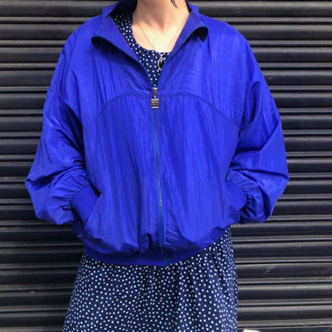 80s Waterproof Blue Sports Bomber Jacket