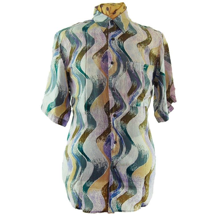 80s Wavy Pastel Silk Shirt