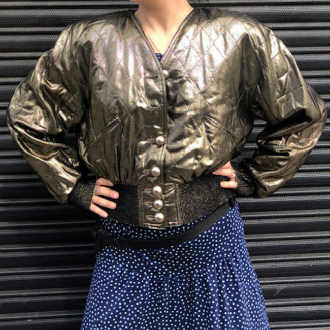 80s Womens Gold Quilted Bomber Jacket