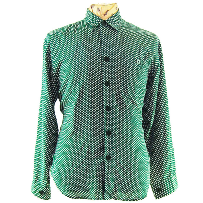 80s Womens Green Star Print Silk Shirt