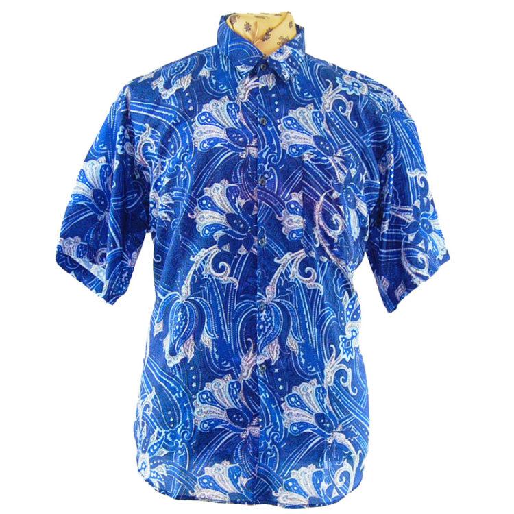 90s Blue Floral Silk Shirt