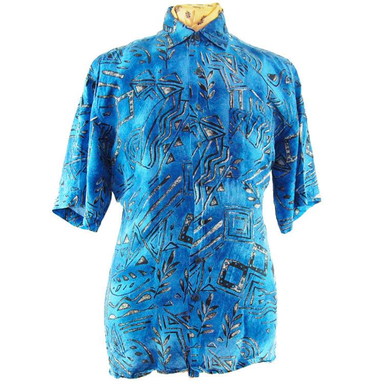 90s Blue Tribal Symbol Silk Shirt